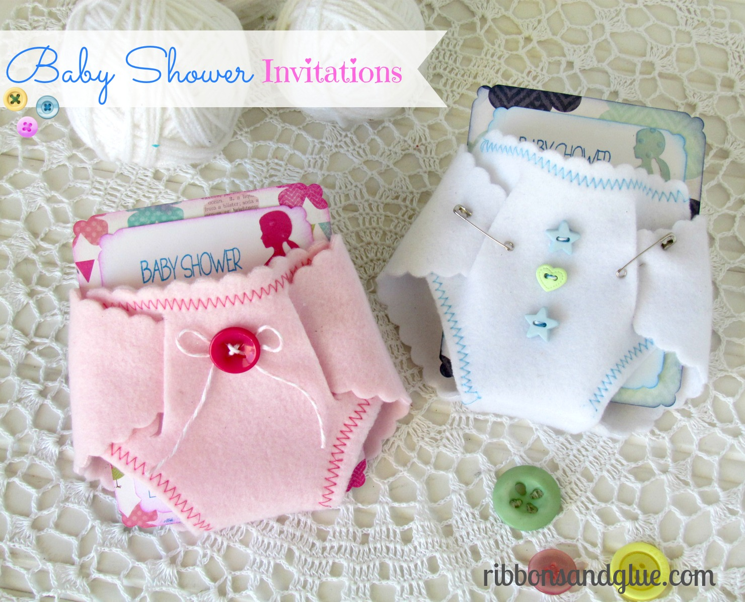 Baby Shower Felt Diaper Invitations