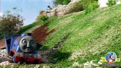 Thomas the tank engine and friends Gordon takes a tumble sliding of broken tracks into a farm field