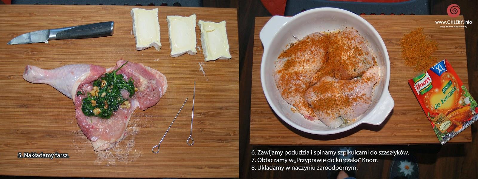 Udka faszerowane szpinakiem, serem i orzechami
