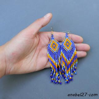 купить индейские сережки из бисера украина россия