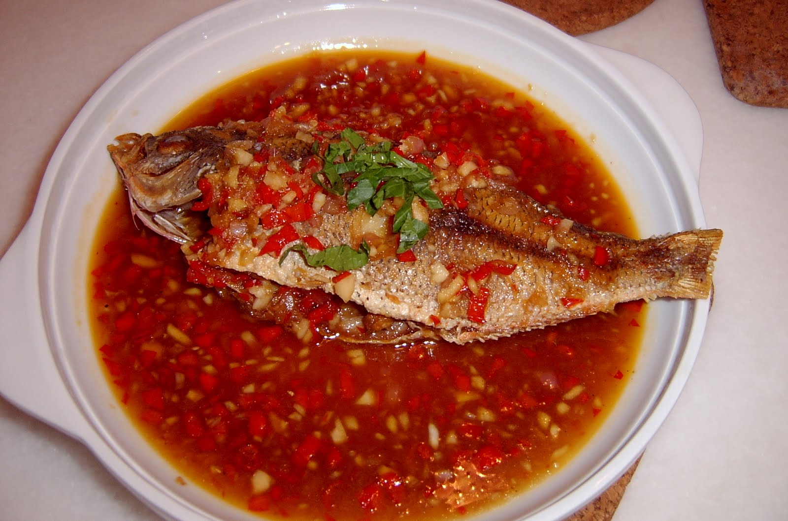 Through the kitchen door crispy fried fish with chilli sauce for Sauce for fried fish