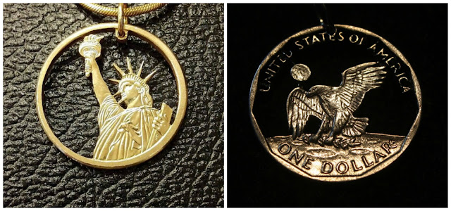 Cut coin pendants from Saw Artist and Hamilton Custom Cast.