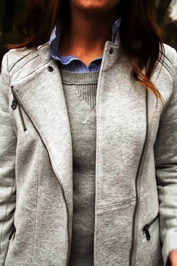 Adorable matching grey zip up jacket and sweater