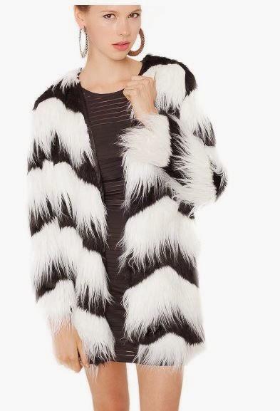 abrigo de pelo bicolor