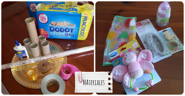 Materiales para realizar una tarta de pañales, regalo para bebé