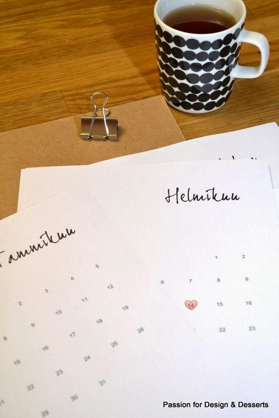minimalistinen seinäkalenteri 2014