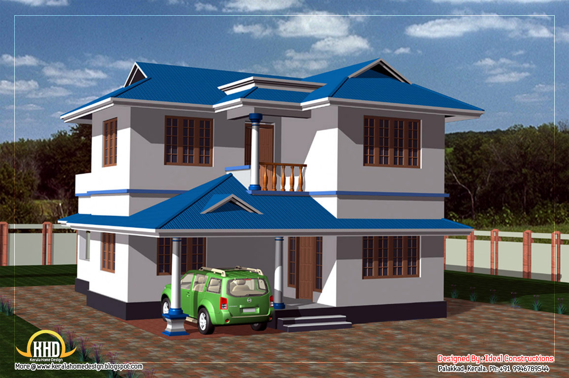 duplex house elevation 135 square meters 1450 sq ft february - Blue House Design