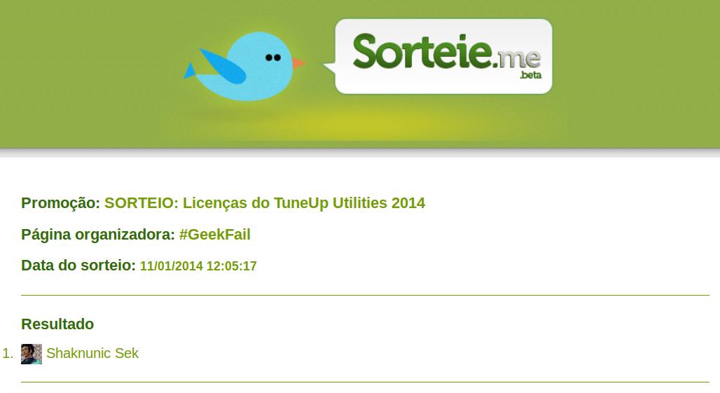 retificacao sorteio licencas tuneup utilities 2014