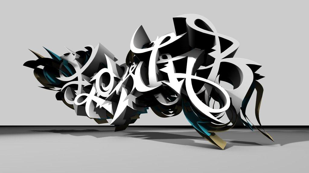 graffity wallpaper. 3d graffiti wallpaper.