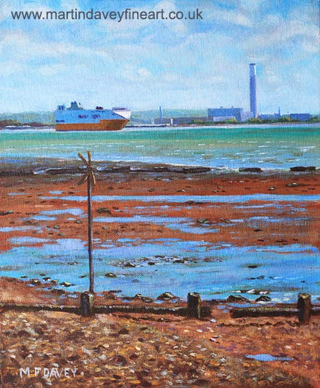 Fawley power station from Weston Shore Hampshire-acrylic painting