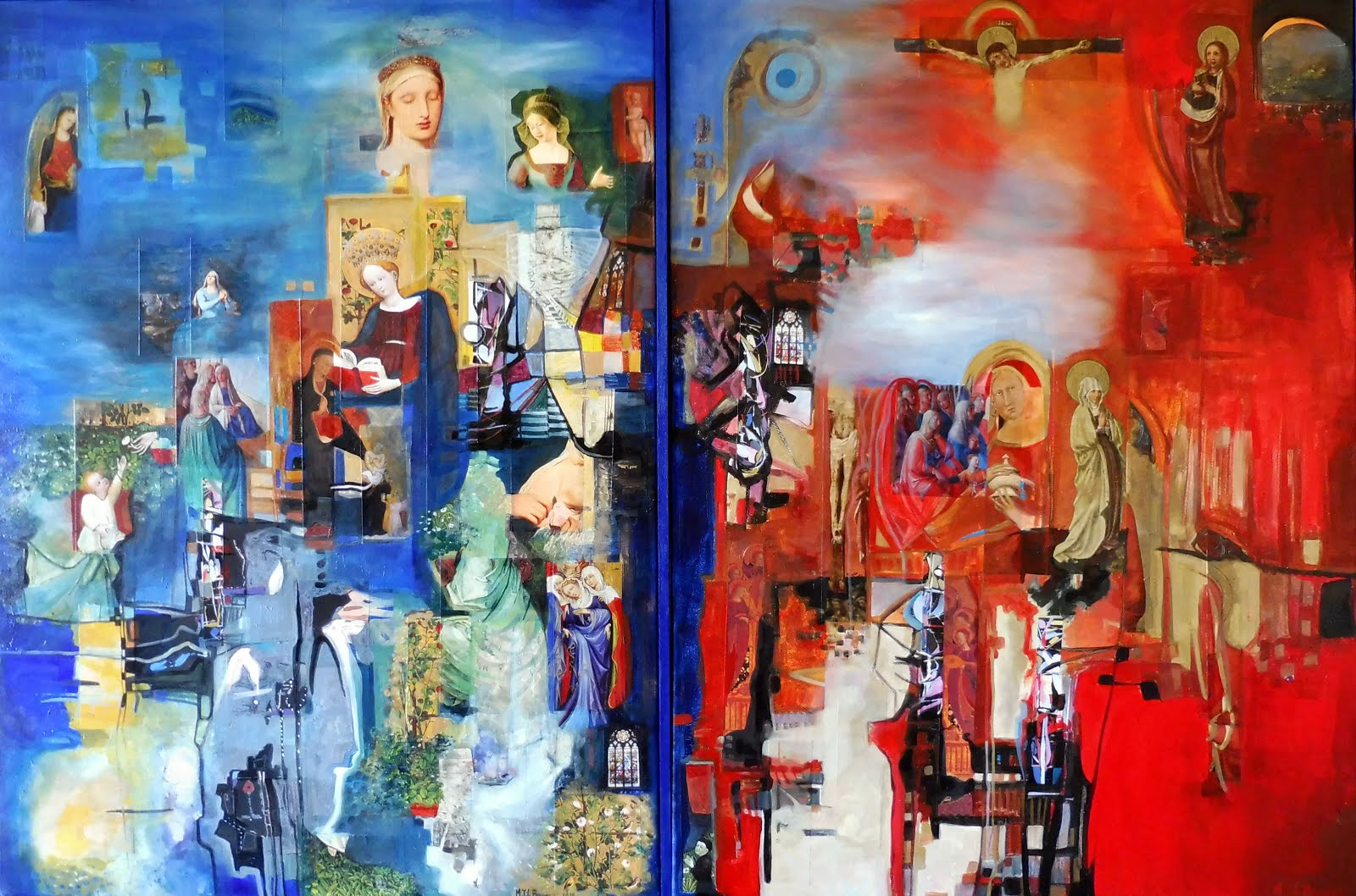 Marie en bleu et rouge - 120 x 81 cm - 2019