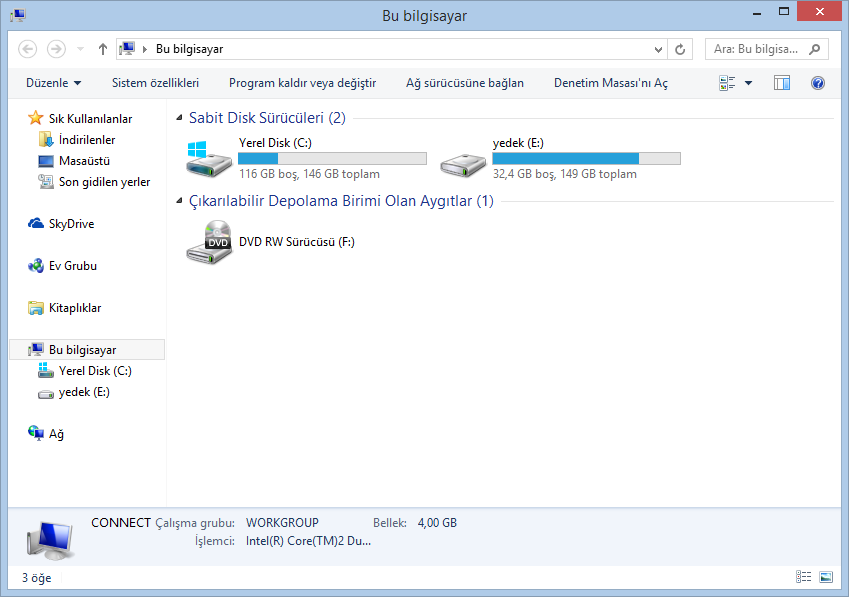 Windows 7 Dosya Gezgini