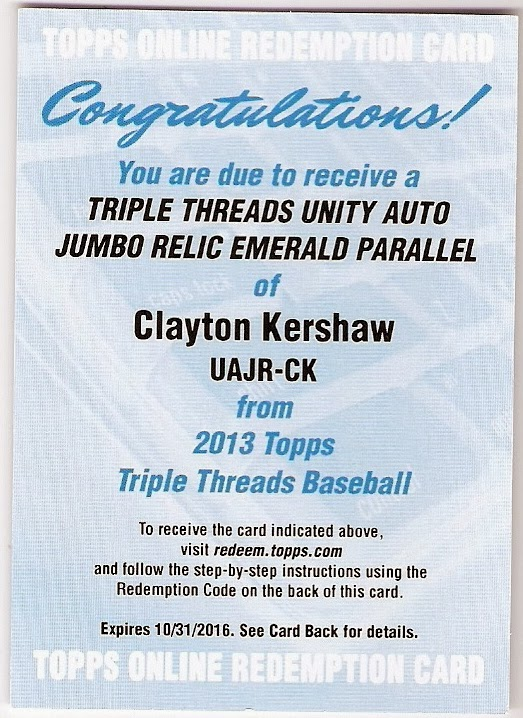 2013 topps triple threads clayton kershaw auto-patch redemption watch