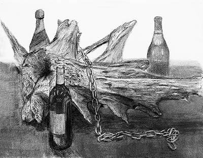横浜美術学院の中学生教室 美術クラブ 手で描く!指で描く!「木炭デッサン」 作品1