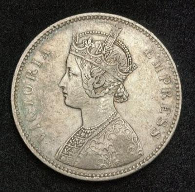 British India coin Rupee Queen Victoria
