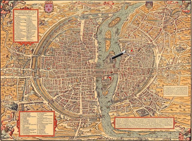 от центра (карта Парижа,