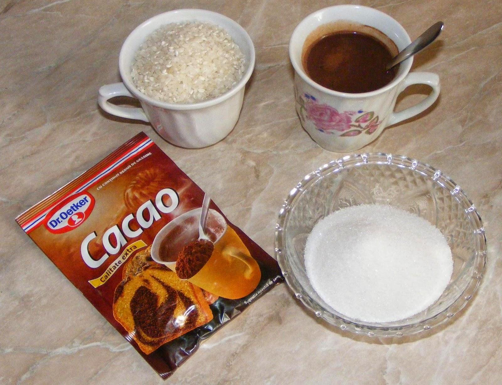 ingrediente orez cu lapte si cacao, cum se prepara orezul cu lapte, cum facem orez cu lapte si cacao, reteta orez cu lapte si cacao, retete dulciuri si deserturi pentru copii,