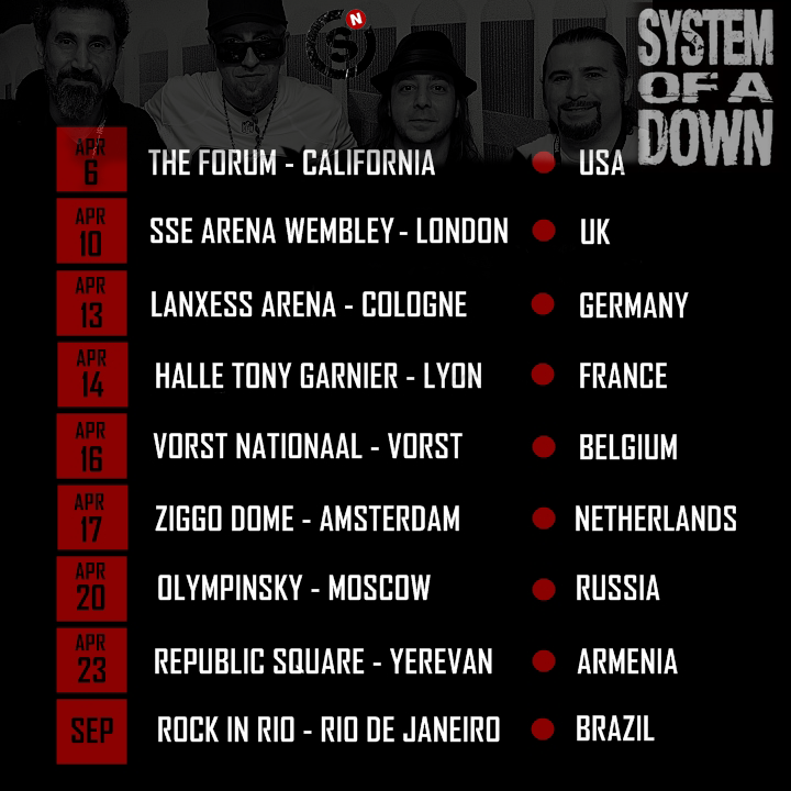SOAD 2015 TOUR DATES