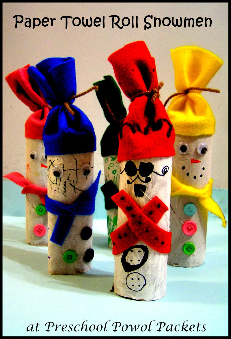 Paper Towel Roll Snowmen Craft Preschool Powol Packets