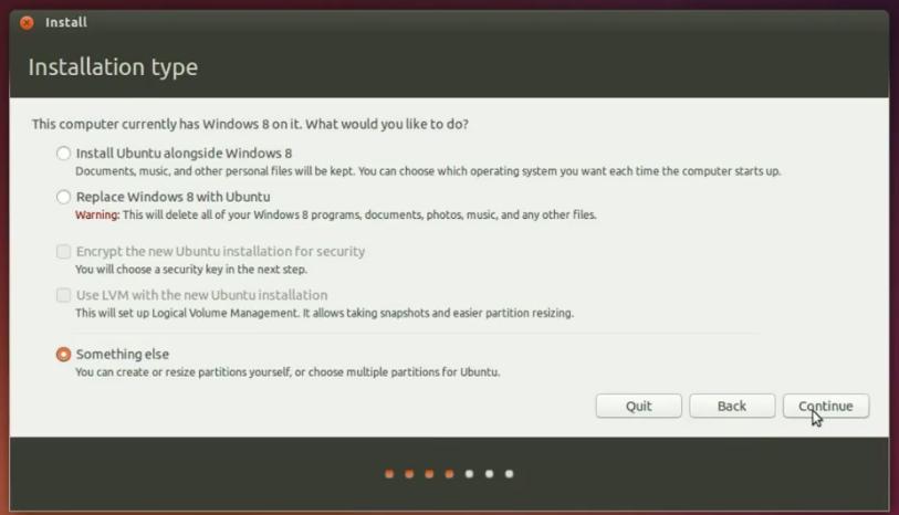 Install OS Ubuntu 14.10 : Pilih Partisi
