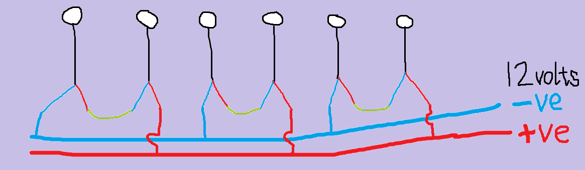 French Model Railway  Wiring Plan For Row Of Six 12 Volt