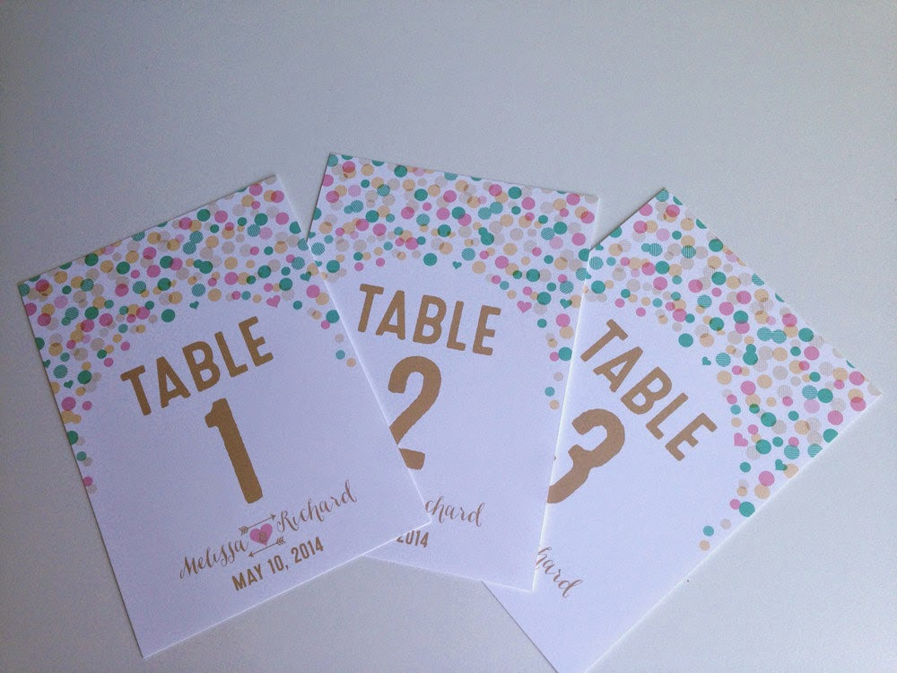 Whimsical Wedding Table Cards - you pick colors & fonts - numbers or words!!