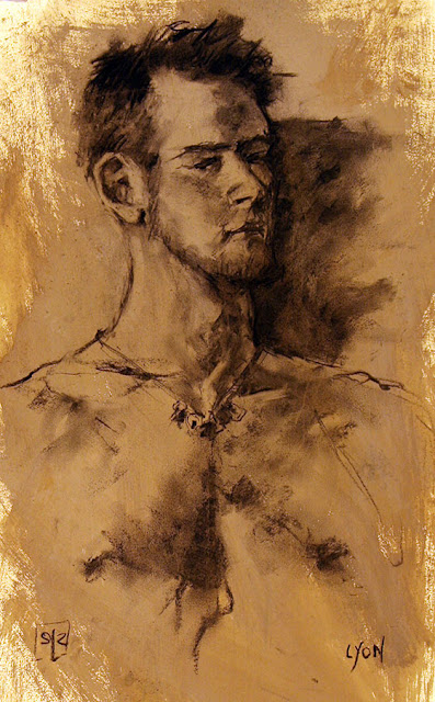 life drawing, vine charcoal on gessoed paper, by Shannon Reynolds