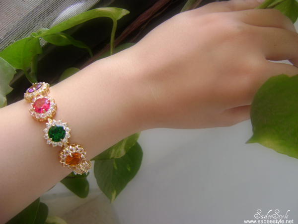 Orange And Colorful Diamonded Crystals Bracelets By Romwe