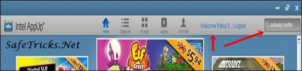 Search box on right side top corner in which search for Subway surfer