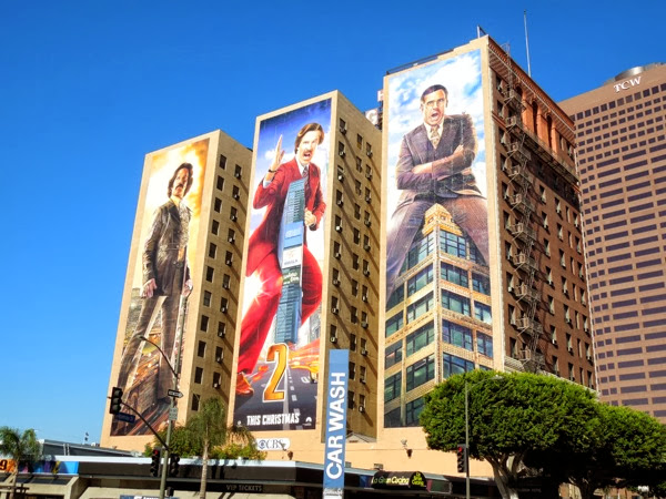 Giant Anchorman 2 movie billboards Figueroa Hotel