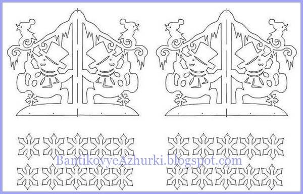 """Схема новогодней подвески из бумаги """"Снеговик и птичка"""""""
