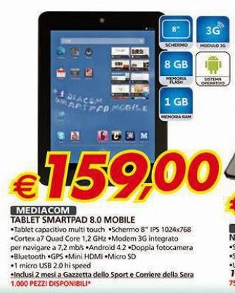 Da auchan in promozione 1000 unità dello Smartpad 8.0 Mobile Mp840m di Mediacom