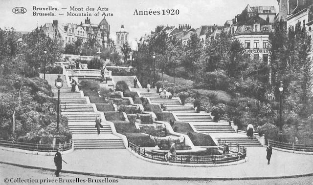 Mont des Arts - Bruxelles disparu - Vue du bas du Mont des Arts vers la place Royale - Côté Sud - Bruxelles-Bruxellons