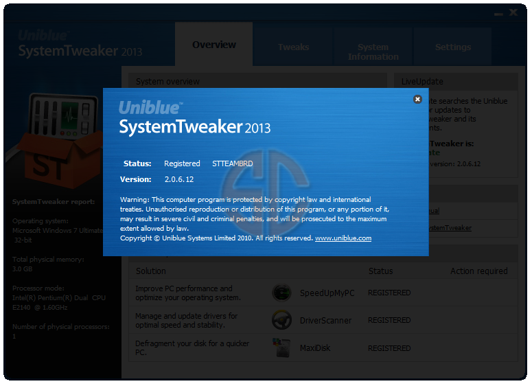 Uniblue SystemTweaker 2013 2.0.6.12 Full Version