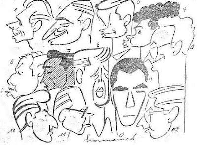 Caricaturas de los participantes en el I Gran Torneo Internacional de Ajedrez Santander 1958