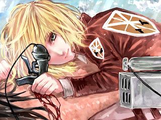 Attack on Titan Shingeki no Kyojin Armin Arlet Anime Blonde Hair Blade Blood HD Wallpaper Desktop PC Background 1332