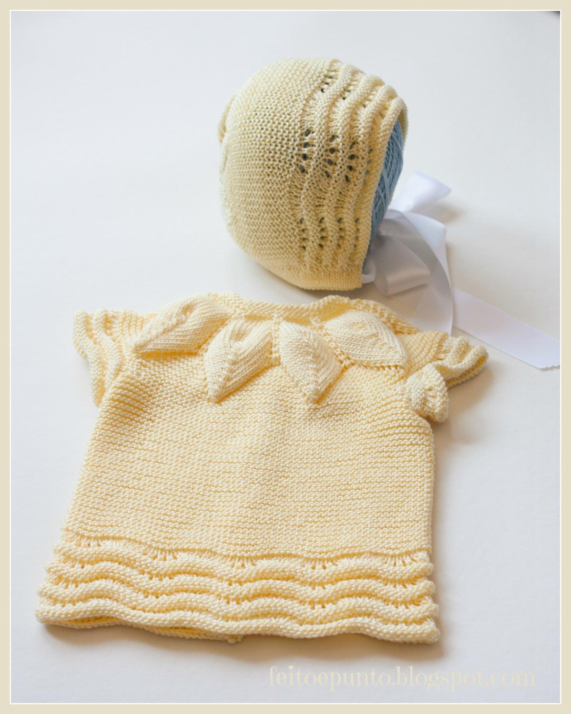 feitoepunto: Conjunto de manga corta para bebé, en amarillo