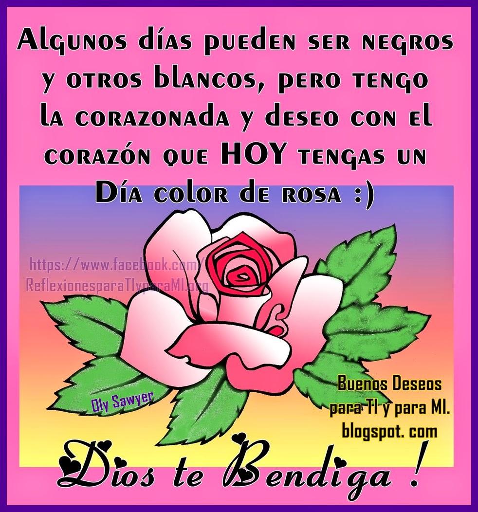 Algunos días pueden ser negros  y otros blancos, pero tengo la corazonada  y deseo con el corazón, que HOY  tengas un día  color de ROSA ! :)