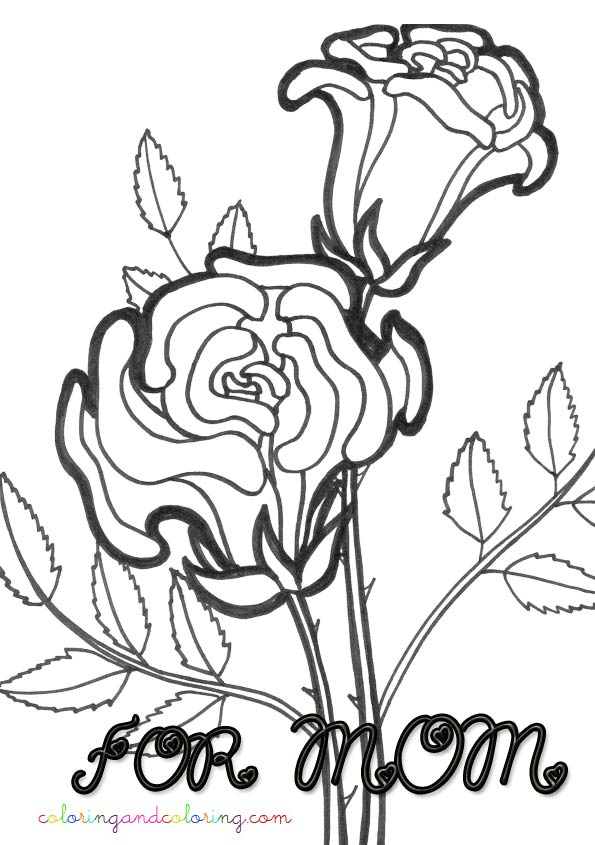 Coloring roses for mom