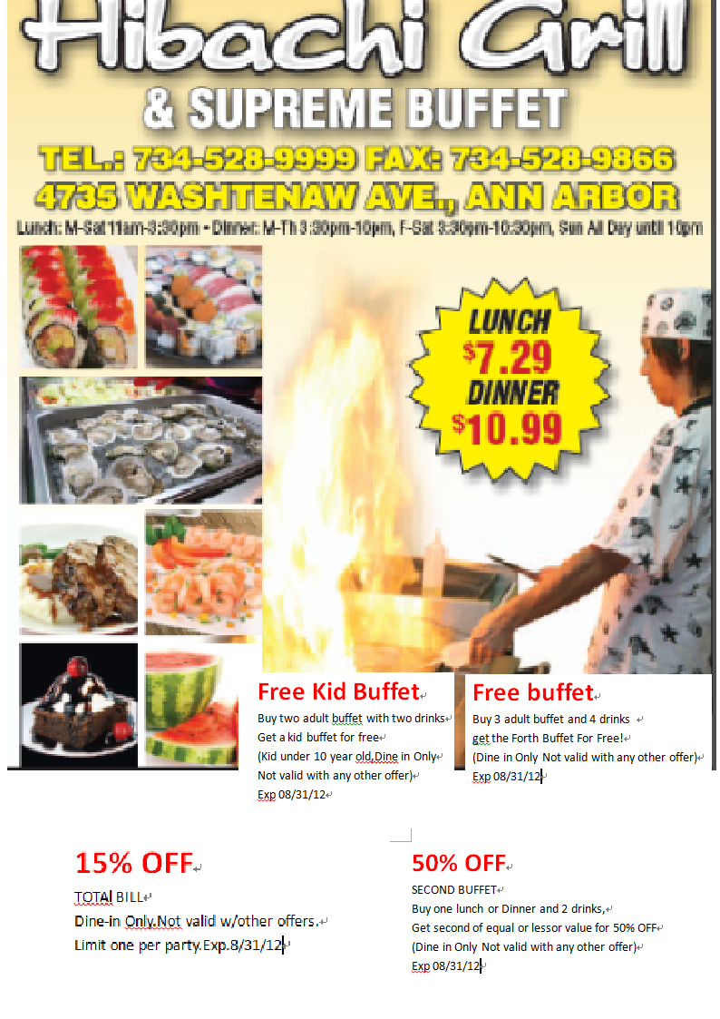 Hibachi grill discount coupons