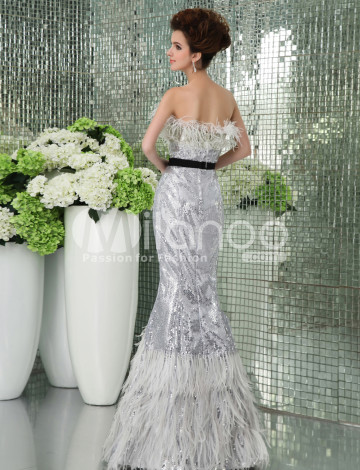 Dentelle d'Argent bretelles sirène trompette robe de soirée pour dames