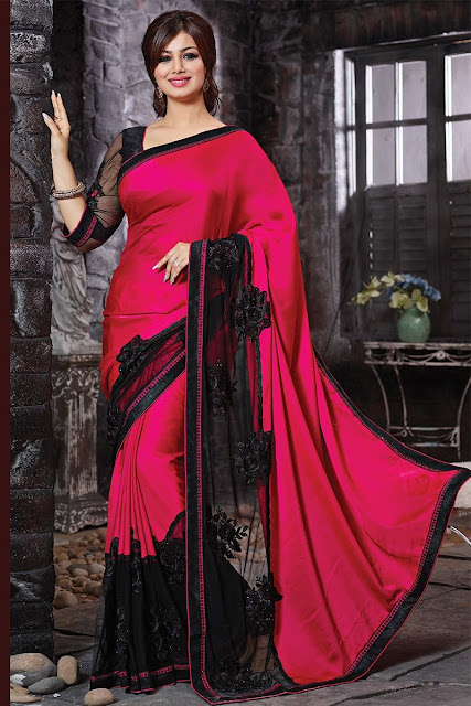 Pink & Black Faux Georgette Embroidered Saree With Art Silk Blouse