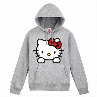 Kumpulan Model Jaket Hello Kitty Terbaru Wara Abu-Abu
