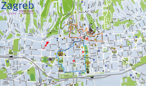 Zagreb Croátia tourist map