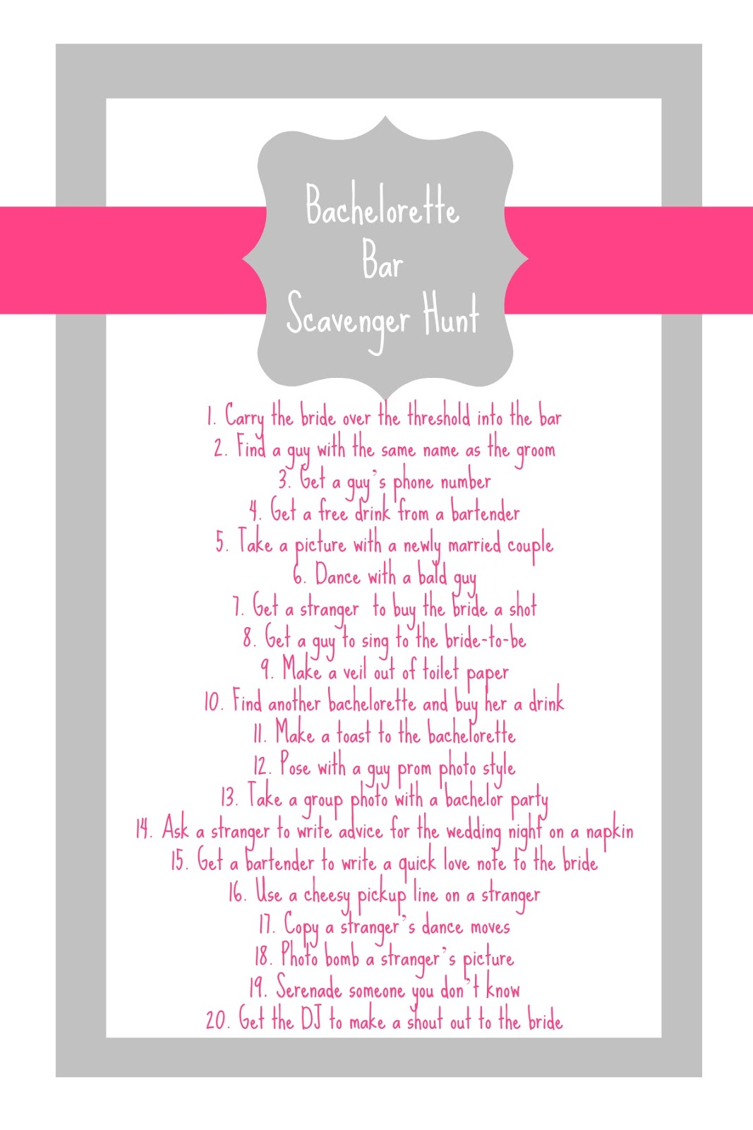 Free Bachelorette Scavenger Hunt Printable