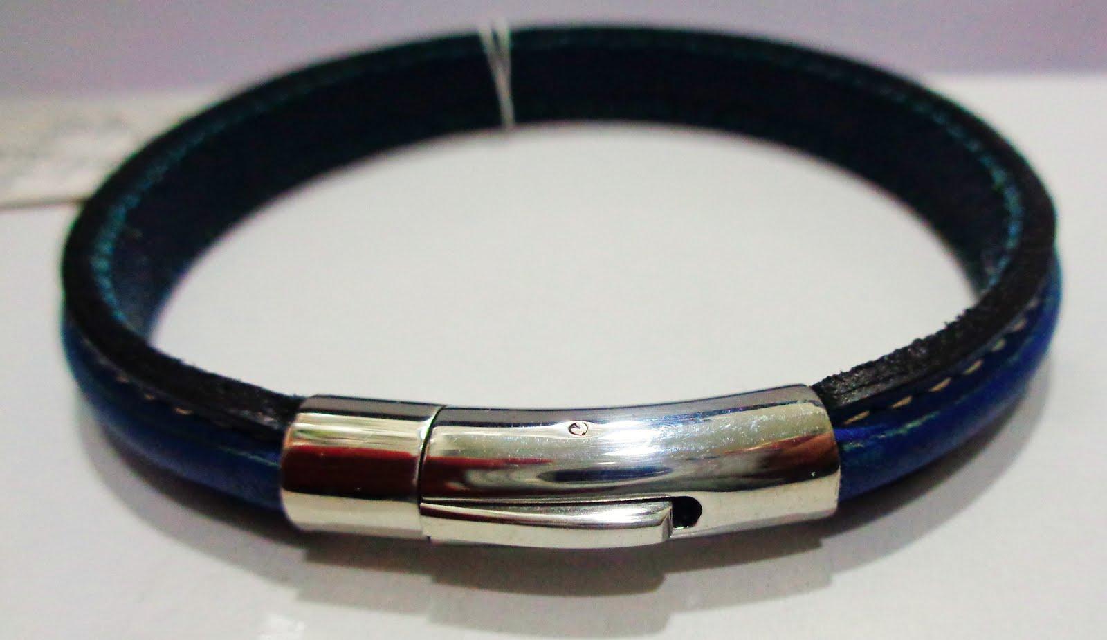 Pulsera cierre imán, acero, piel azul