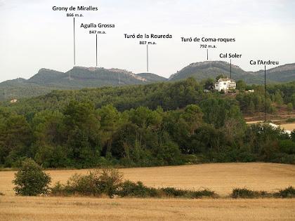 Panoràmica de la Serra de Miralles, amb els cims de l'Agulla Grossa i el Grony, des del Camí de la Censada Nova