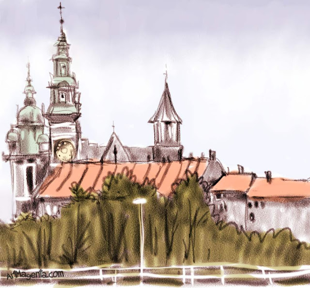 The Wawel castle in Krakow is a sketch by artist and illustrator Artmagenta