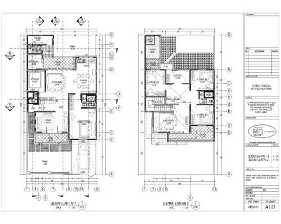 sketsa denah rumah 2 lantai terbaru