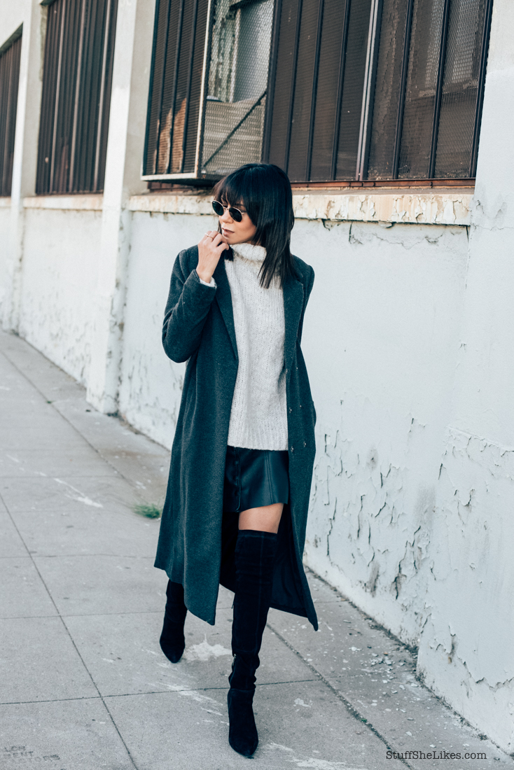 fashion blogger, Blog, Fashion Blog. forever 21 coat, Leather skirt, over the knee boots, bangs, brunette, long coat,